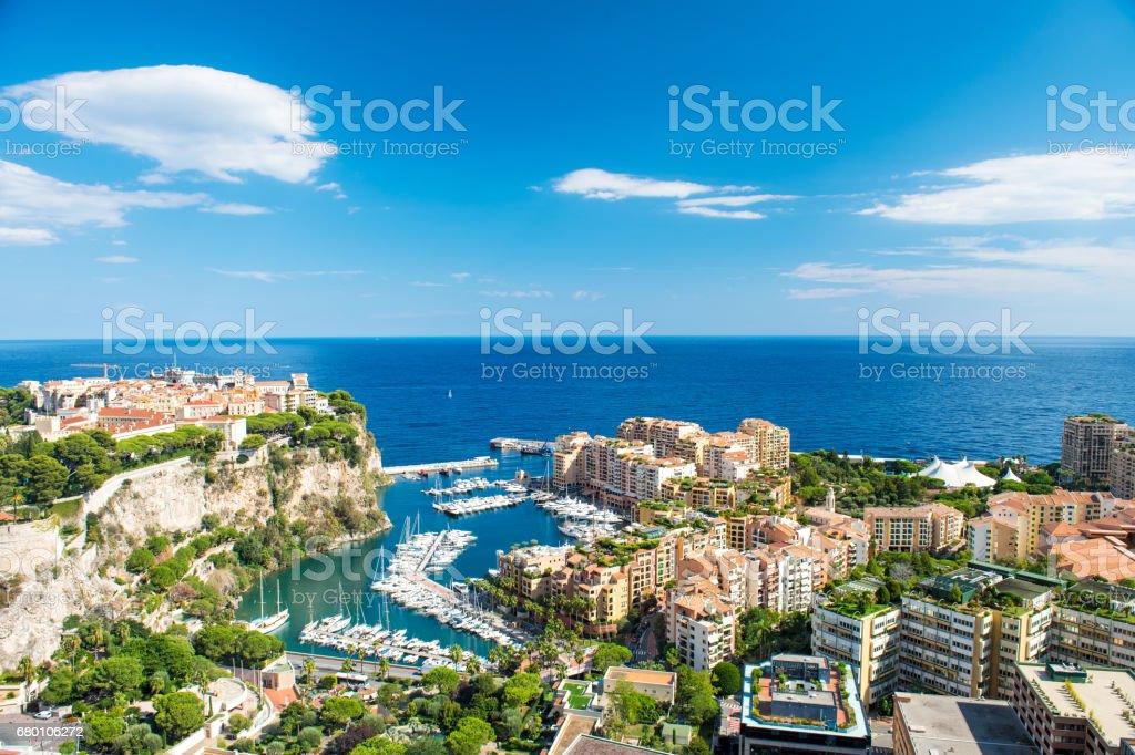 Panoramic view Monaco Fontvieille Mediterranean sea stock photo