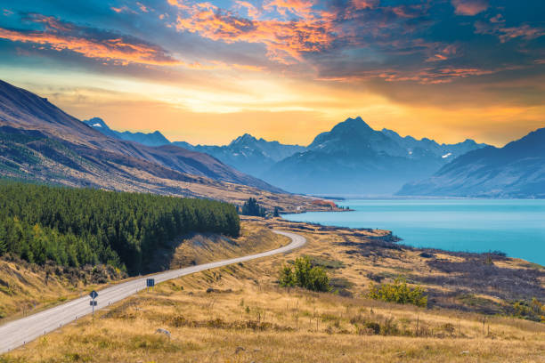 Panoramic view nature landscape in south island New Zealand stock photo