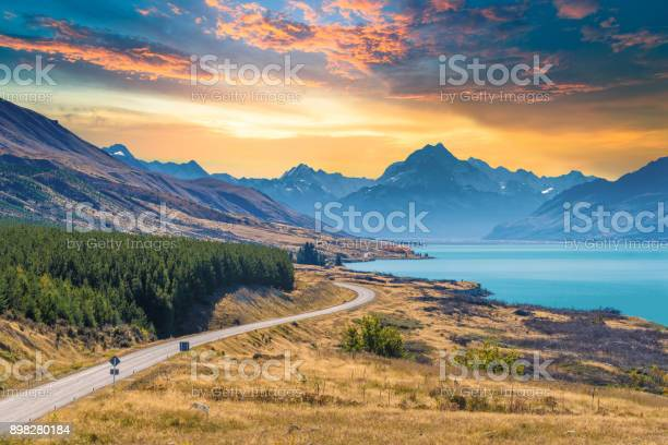 Panoramic view popular and famaus place nature landscape in south island New Zealand