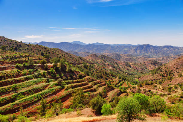 panoramic view near of kato lefkara - is the most famous village in the troodos mountains. limassol district, cyprus, mediterranean sea. mountain landscape and sunny day. - cyprus стоковые фото и изображения