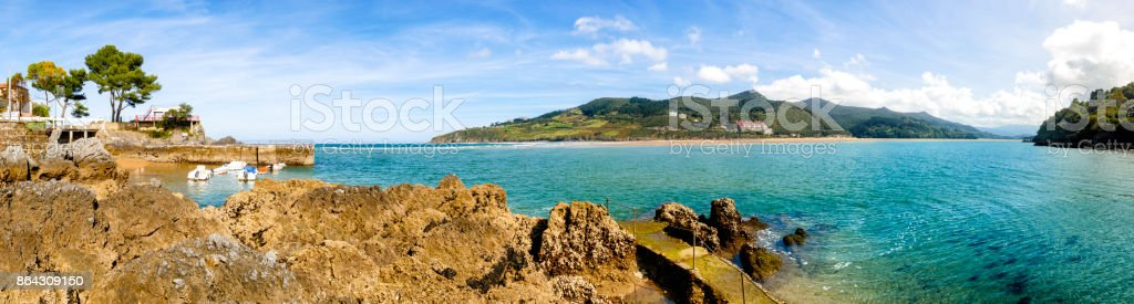 Panoramic view od the estuary of Oka River. Mundaka and Hondartza beach. Basque Country, Vizcayne Province, Spain stock photo