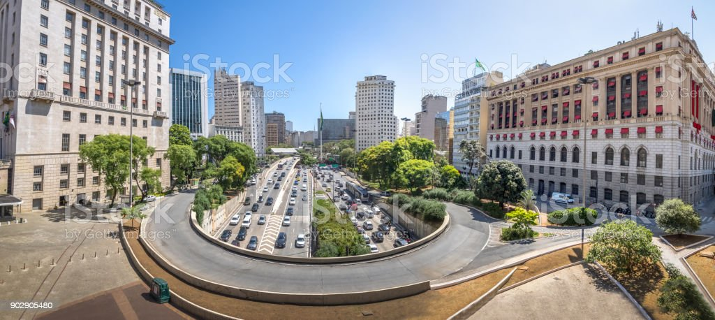 Panoramic view of 23 de Maio Avenue view from view from Viaduto do Cha (Tea Viaduct) - Sao Paulo, Brazil stock photo