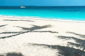 Panoramic view of a beautiful sunny day on sandy beach in the Maldives. Tropical travel concept.