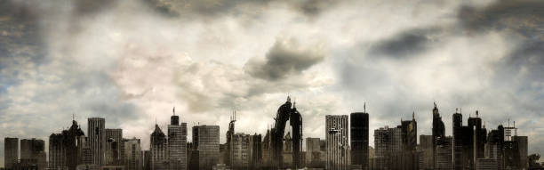 Panoramic View of a Destroyed Metropolis stock photo