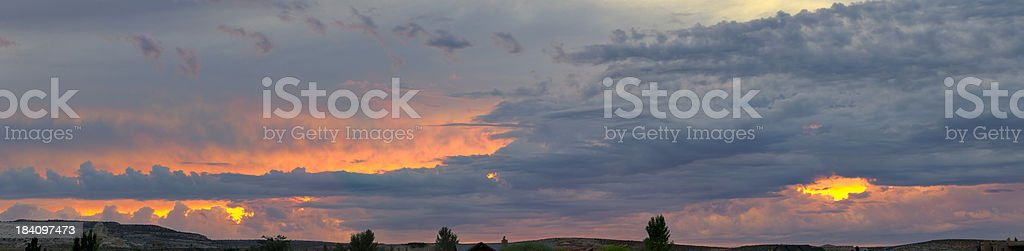 Panoramic View of a Dramatic Sunset stock photo