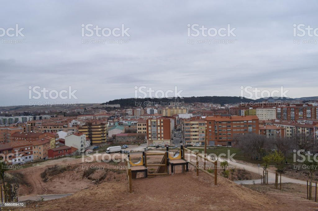 Panoramic view of a European city during a cloudy day. royalty-free stock photo