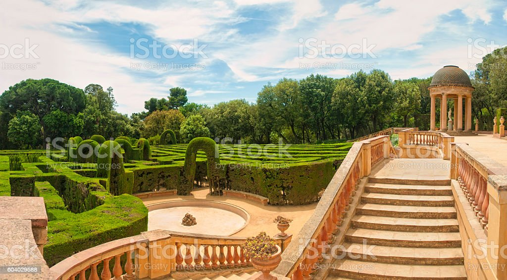 panoramic view of a garden with a maze royalty-free stock photo