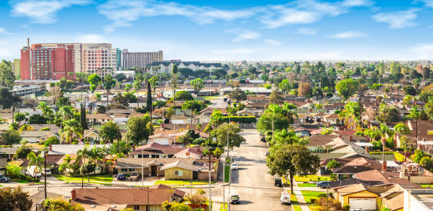 Panoramic view of a neighborhood in Anaheim, California Bright and colorful image of residential area in Anaheim, Orange County, California california stock pictures, royalty-free photos & images
