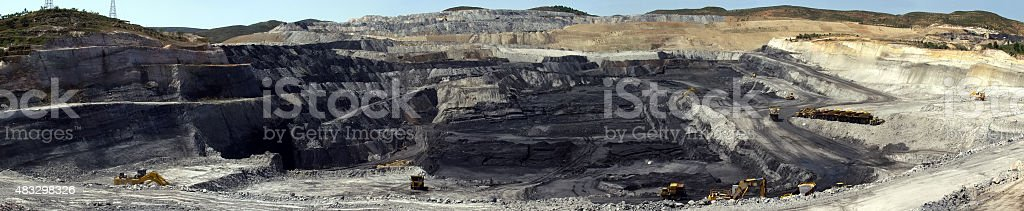 Panoramic view of a quarry coal. stock photo