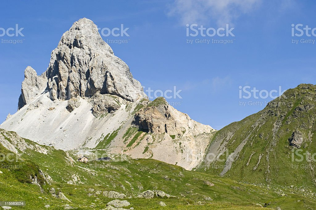 Panoramic view of a scenic summit in the Alps royalty-free stock photo