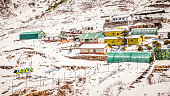 Panoramic view of a small town of mesmerizing Jammu and Kashmir in winter covered in snow. Top view of village in Leh valley of himalaya mountain range, Ladakh, Kashmir, India. Winter Wallpaper Design