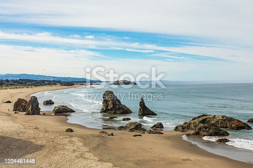 Panoramic view of Bandon beach in Oregon as seen from overlook