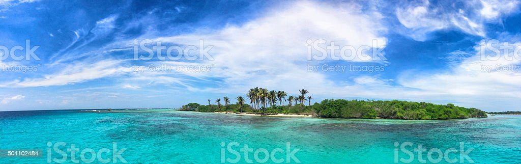 Panoramic view of a tropical island in the Caribbean stok fotoğrafı