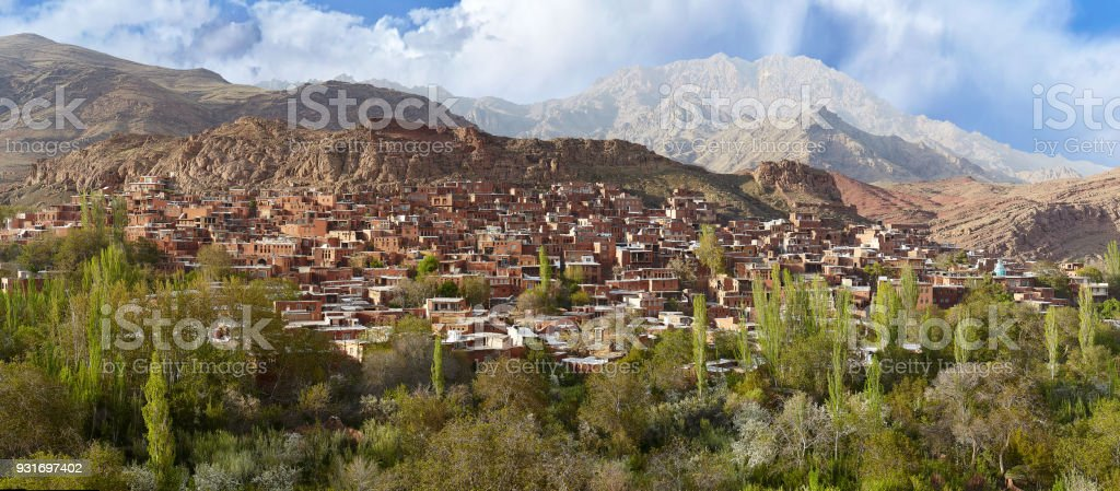 Panoramic view of Abyaneh village, Isfahan province, Iran. stock photo