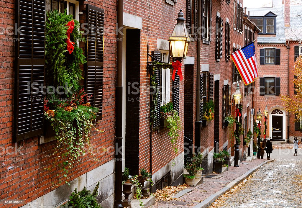 Panoramic view of Acorn Street with an US flag and plants royalty-free stock photo