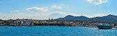 AEGINA, GREECE - JUNE 19: Panoramic view of Aegina port in Aegina island, Greece on June 19, 2017
