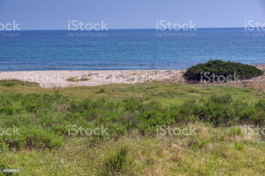 Panoramic view of Agios Georgios Beach at Sithonia peninsula, Chalkidiki, Greece stock photo