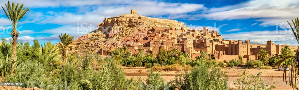 Panoramic view of Ait Benhaddou, a UNESCO world heritage site in Morocco stock photo