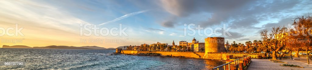 Panoramic view of Alghero at sunset - Royalty-free Alghero Stock Photo