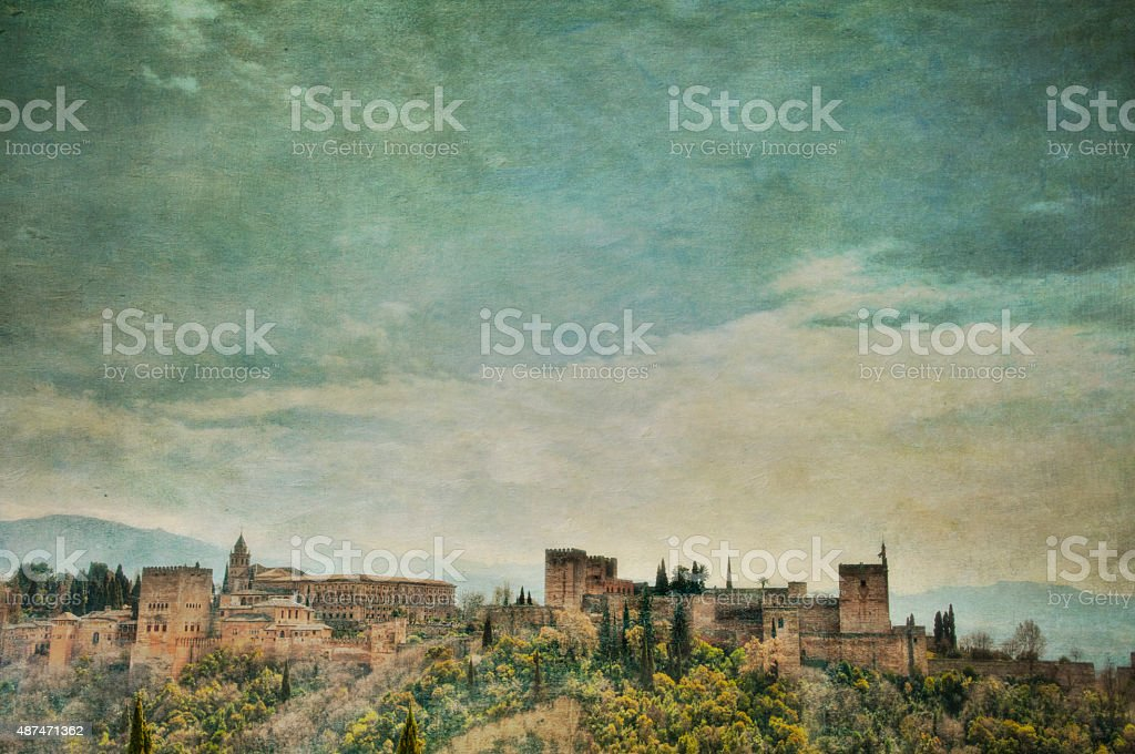 Panoramic view of Alhambra Palace with textures added stock photo