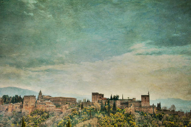 panoramic view of alhambra palace with textures added - renaissance stock pictures, royalty-free photos & images