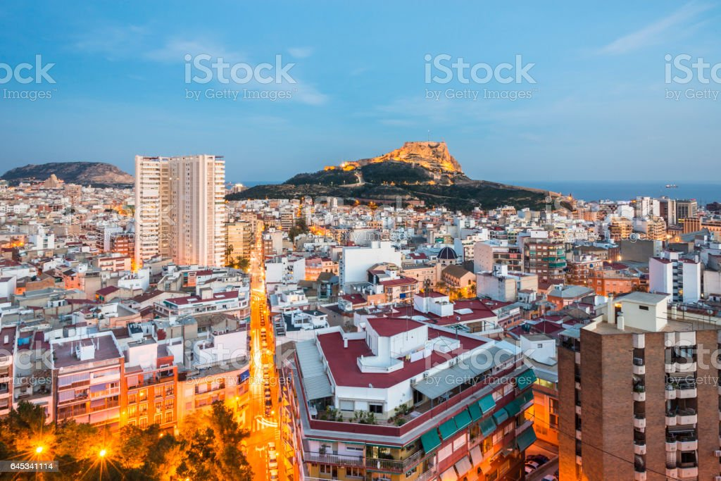 Panoramic view of Alicante at the sunset, Costa Blanca, Valencia province. Spain. stock photo