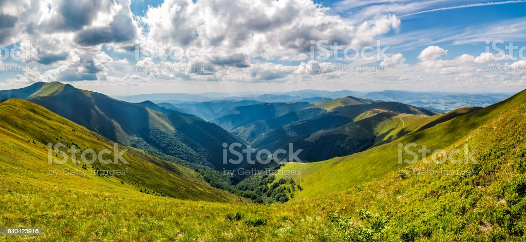 panoramic view of alpine mountain ridges stock photo