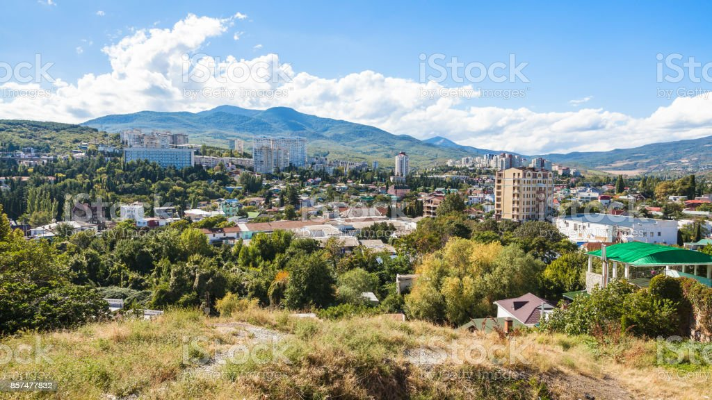 panoramic view of Alushta city from Castle Hil stock photo