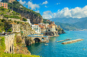 Panoramic view of Amalfi and harbor,Italy,Europe