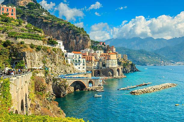 Panoramic view of Amalfi and harbor,Italy,Europe stock photo