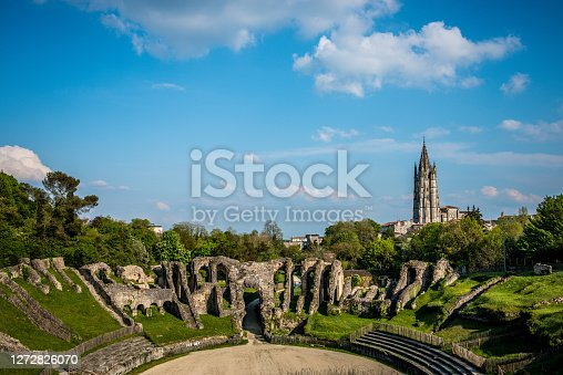 Panoramic View Of Amphitheater In Saintes Poitou-Charentes, France