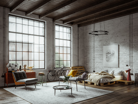 Digitally generated image of a new york style industrial apartment loft