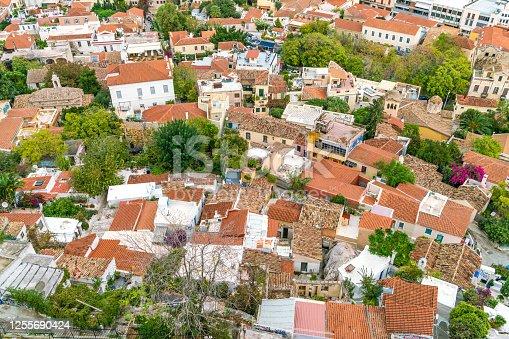 Panoramic view of anafiotika neighborhood