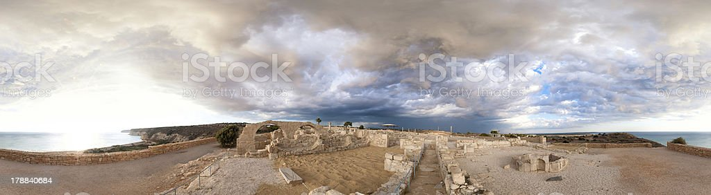 Panoramic view of ancient Kourion royalty-free stock photo