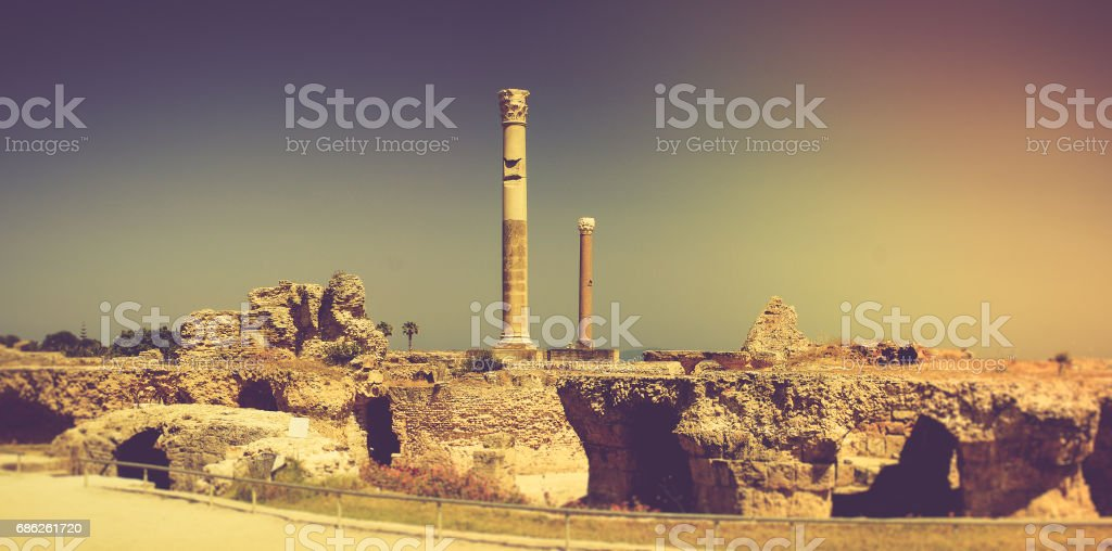 Panoramic view of Ancient ruins at Carthage.Tunisia. stock photo