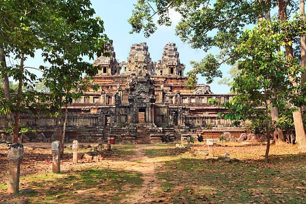 panoramic view of ancient temple Ta Keo at Angkor Wat stock photo