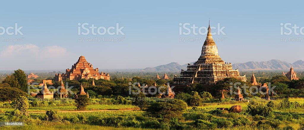 Panoramic view of ancient temples in Bagan 76MPix XXXXL size stock photo