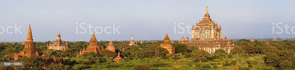 Panoramic view of ancient temples in Bagan stock photo