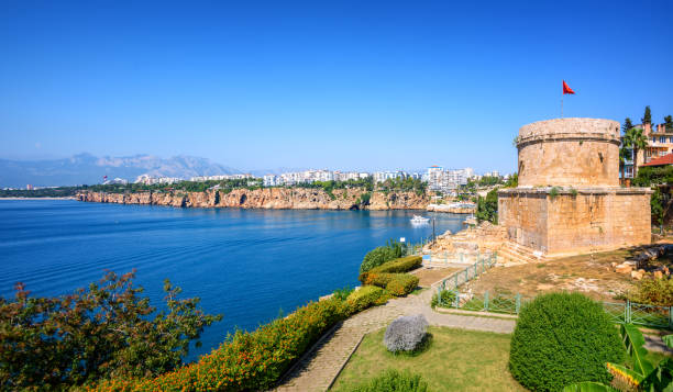 Panoramic view of Antalya city, Turkey stock photo