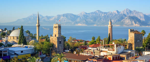 Panoramic view of Antalya Old Town, Turkey stock photo