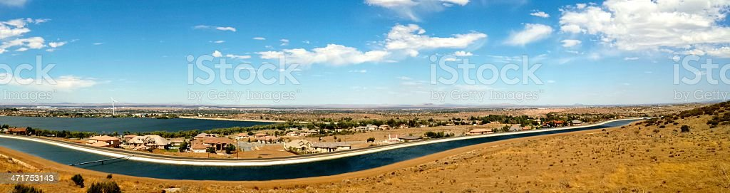Panoramic view of aqueduct and lake stock photo