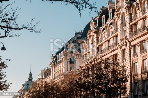 Panoramic view of architectural details of facade in Paris, France.