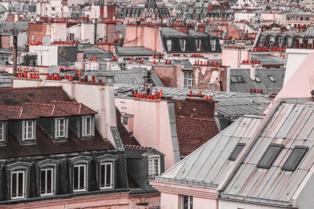 Panoramic view of architectural details of roofs in Paris, France in creative retouch. stock photo