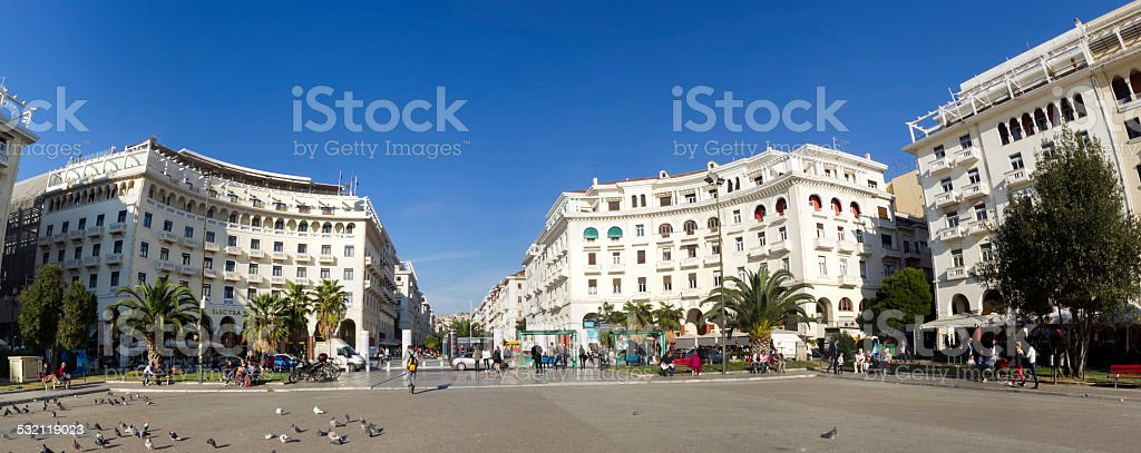 Panoramic view of Aristotelous, at the heart of Thessaloniki cit stock photo