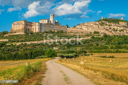 Panoramic view of Assisi, in the Province of Perugia, in the Umbria region of Italy.