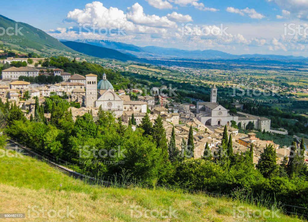 Panoramic view of Assisi, medieval town famous for being the birthplace of Saint Francis, Umbria , Italy stock photo