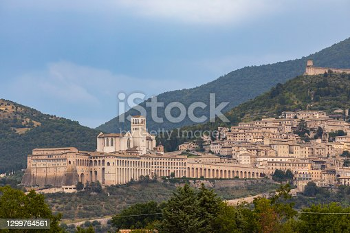 istock Panoramic view of Assisi old town, Province of Perugia, Umbria region, Italy 1299764561