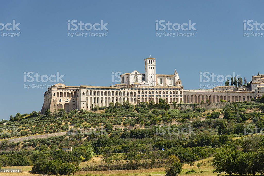 Panoramic view of Assisi stock photo