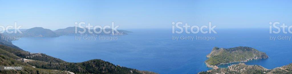 Panoramic view of Assos peninsula stock photo