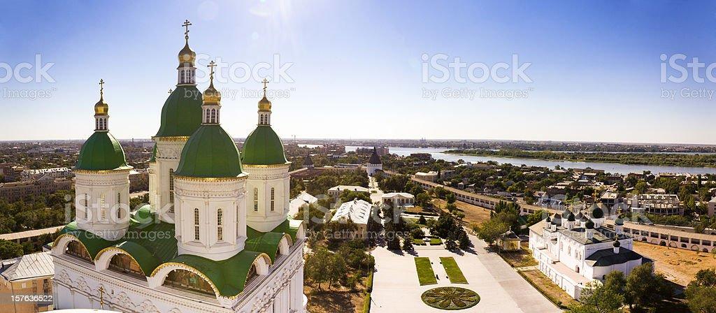 Panoramic view of Astrakhan city, Russia stock photo